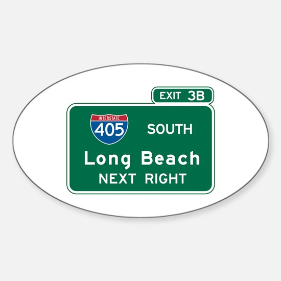 Long Beach, CA Highway Sign Oval Decal