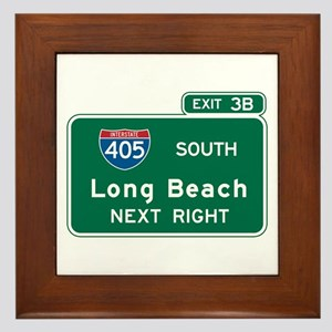 Long Beach, CA Highway Sign Framed Tile