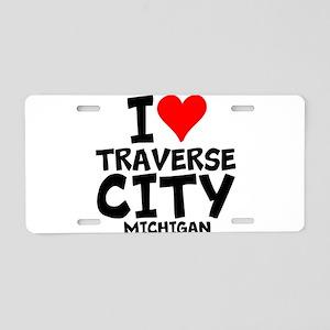 I Love Traverse City, Michigan Aluminum License Pl