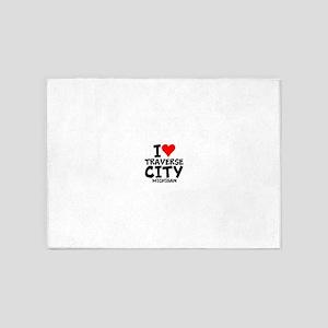I Love Traverse City, Michigan 5'x7'Area Rug