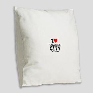 I Love Traverse City, Michigan Burlap Throw Pillow
