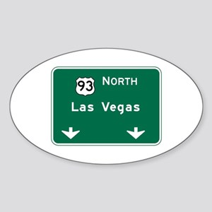 Las Vegas, NV Highway Sign Oval Sticker