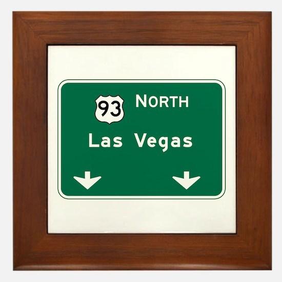 Las Vegas, NV Highway Sign Framed Tile