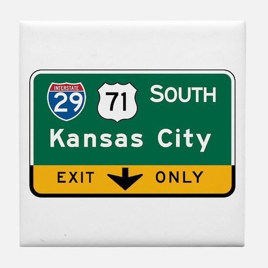 Kansas City, MO Highway Sign Tile Coaster
