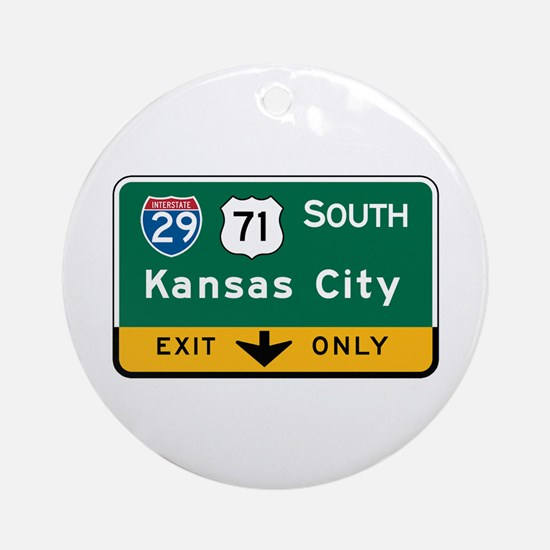 Kansas City, MO Highway Sign Ornament (Round)
