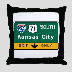 Kansas City, MO Highway Sign Throw Pillow