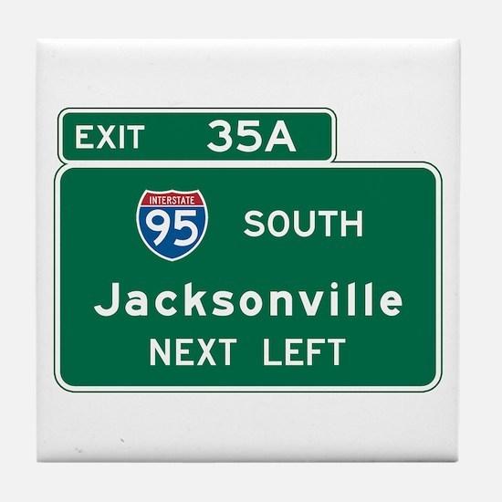 Jacksonville, FL Highway Sign Tile Coaster