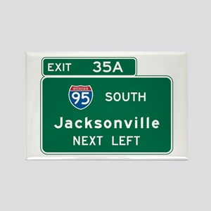 Jacksonville, FL Highway Sign Rectangle Magnet