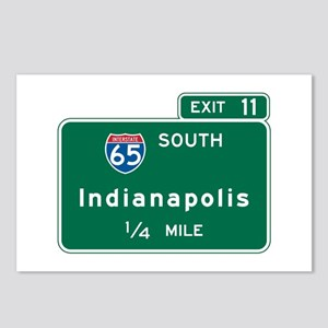Indianapolis, IN Highway Sign Postcards (Package o