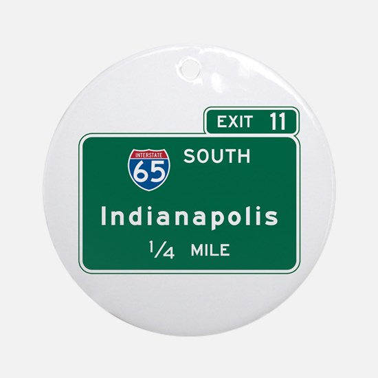Indianapolis, IN Highway Sign Ornament (Round)