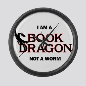 I am a Book Dragon not a Worm Large Wall Clock