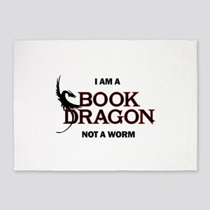 I am a Book Dragon not a Worm 5'x7'Area Rug