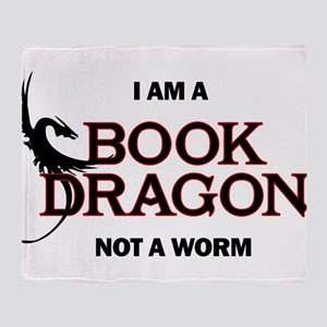 I am a Book Dragon not a Worm Throw Blanket