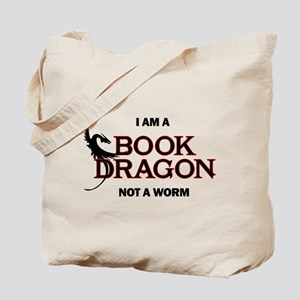I am a Book Dragon not a Worm Tote Bag