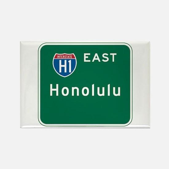 Honolulu, HI Highway Sign Rectangle Magnet