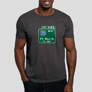 Fort Worth, TX Highway Sign Dark T-Shirt