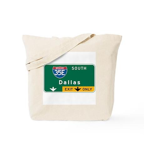 Dallas, TX Highway Sign Tote Bag