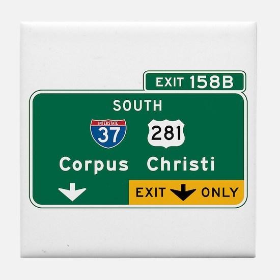 Corpus Christi, TX Highway Sign Tile Coaster