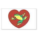 ASL Frog in Heart Rectangle Sticker 10 pk)