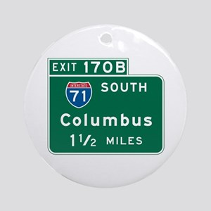 Columbus, OH Highway Sign Ornament (Round)