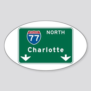 Charlotte, NC Highway Sign Oval Sticker