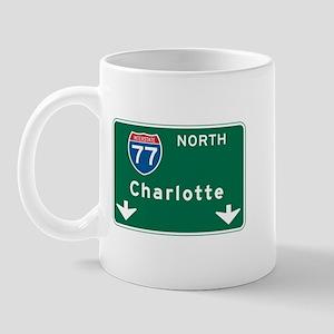 Charlotte, NC Highway Sign Mug