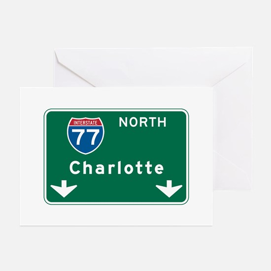 Charlotte, NC Highway Sign Greeting Cards (Pk of 1