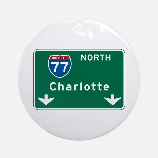 Charlotte, NC Highway Sign Ornament (Round)