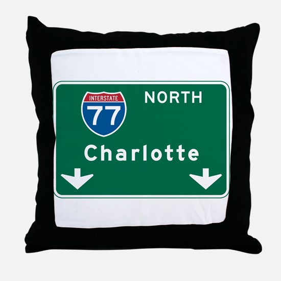 Charlotte, NC Highway Sign Throw Pillow