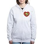 ASL Frog in Heart Women's Zip Hoodie