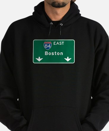 Boston, MA Highway Sign Hoodie (dark)