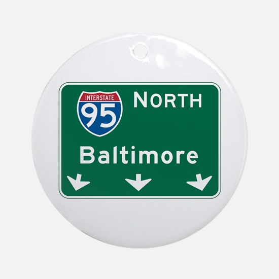 Baltimore, MD Highway Sign Ornament (Round)