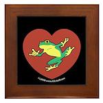 ASL Frog in Heart Black Framed Tile