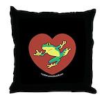 ASL Frog in Heart Black Throw Pillow