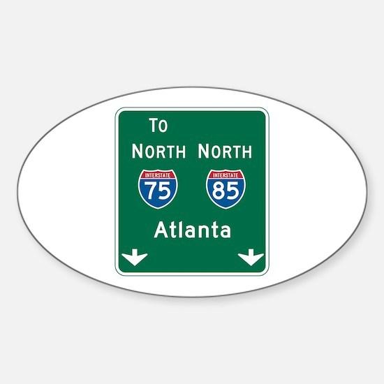 Atlanta, GA Highway Sign Oval Decal