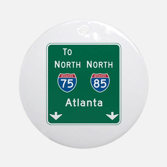 Atlanta, GA Highway Sign Ornament (Round)