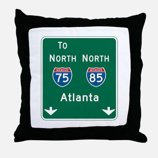 Atlanta, GA Highway Sign Throw Pillow