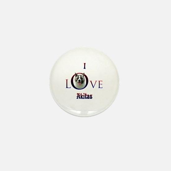 Akita I Love Mini Button