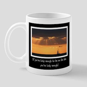 Lucky To Be On The Lake Mug