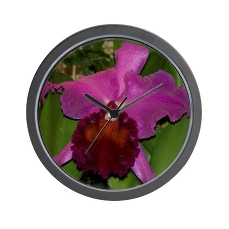 Deep Purple Orchid Wall Clock