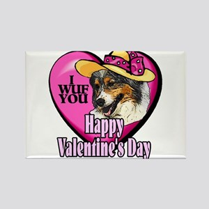 Australian Shepherd Valentines Rectangle Magnet (1