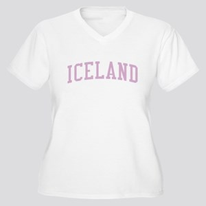 Iceland Pink Women's Plus Size V-Neck T-Shirt