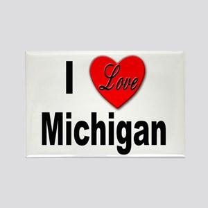I Love Michigan Rectangle Magnet