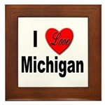 I Love Michigan Framed Tile