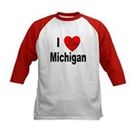 I Love Michigan (Front) Kids Baseball Jersey