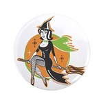 "Vintage Halloween Witch 3.5"" Button"