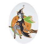 Vintage Halloween Witch Oval Ornament