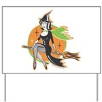 Vintage Halloween Witch Yard Sign