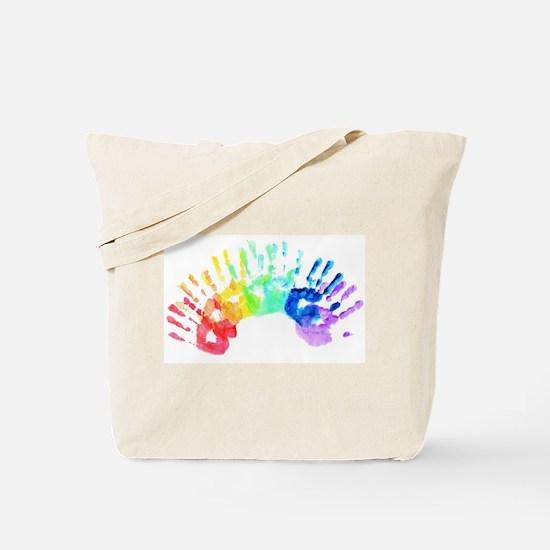 Rainbow Hands Tote Bag