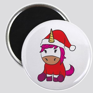 Funny Christmas Xmas Santa Unicorn Sparkle Magnets